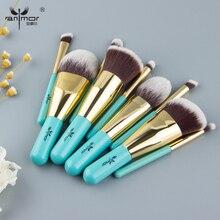 Anmor 9 sztuk pędzle do makijażu podróży przyjazny zestaw pędzelków marki profesjonalne pędzle do makijażu niebieski i złoty kolor moda pędzel Kabuki