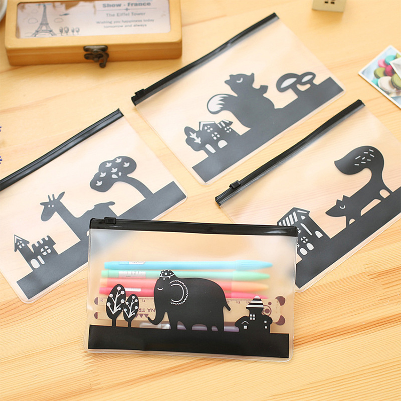 Creative Frosted Transparent Pencil Case Etui Kawaii Animal Pen Box Cute File Holder For Kids Bts Stationery School Supplies