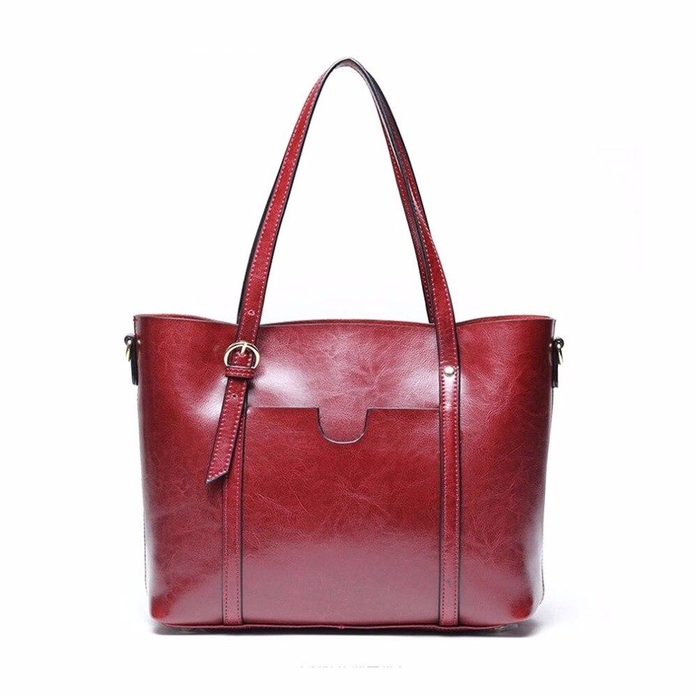 Women Oil Wax PU Leather Handbag Lady Shoulder Bag Strap Length Adjustable Messenger Bag Large Capacity Tote Bolsas Feminina