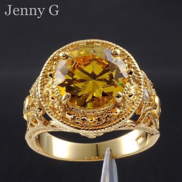Jenny G Vintage Jewelry Size 9,10,11 Yellow Topaz 18K