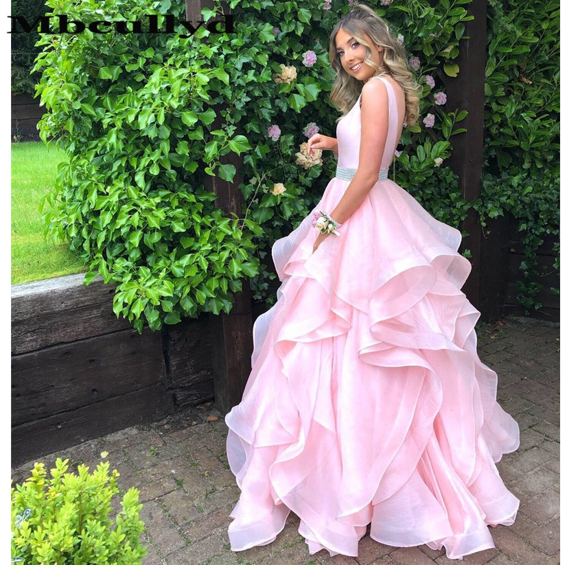 Mbcullyd Pink Ball Gown   Prom     Dress   2019 Floor-length Long Formal   Dress   Evening Gown Tiered Organza Plus Size Robe De Soiree