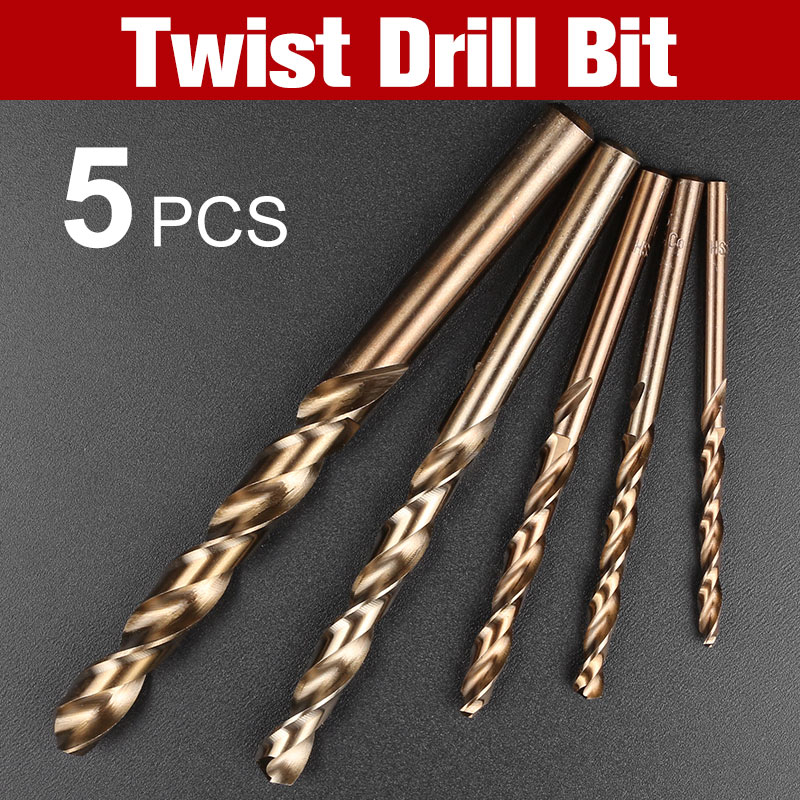 5 PCS stainless steel M35 cobalt drill set metal handle straight handle with drill High speed steel all grinding twist drill