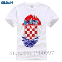 Crazy Short Sleeve Organic Cotton Croatia Flag Fingerprint Men Short T Shirt Big Size Vintage T