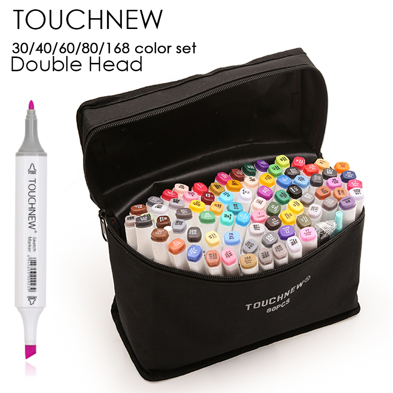 TOUCHNEW 30/40/60/80/168 Colors Art Marker Alcohol Based Markers Drawing Pen Set Manga Dual Headed Art Sketch Marker Design Pens touchnew 30 40 60 80 168 colors artist dual headed marker set manga design school drawing sketch markers pen art supplies