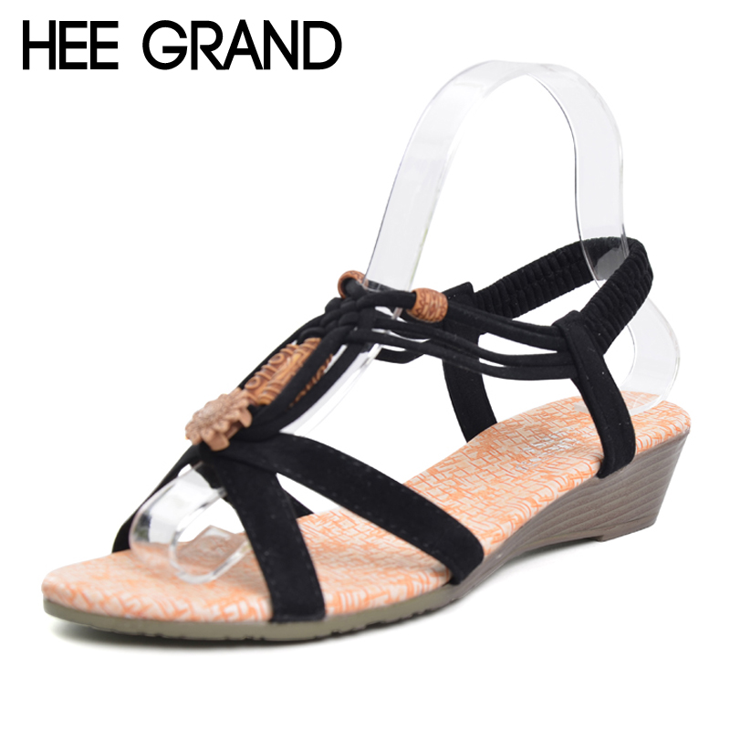 HEE GRAND Women Sandals 2017 Summer New Vintage Style Gladiator Platform Wedges Beach Shoes Woman Bohemia Sandal XWZ591 choudory bohemia women genuine leather summer sandals casual platform wedge shoes woman fringed gladiator sandal creepers wedges