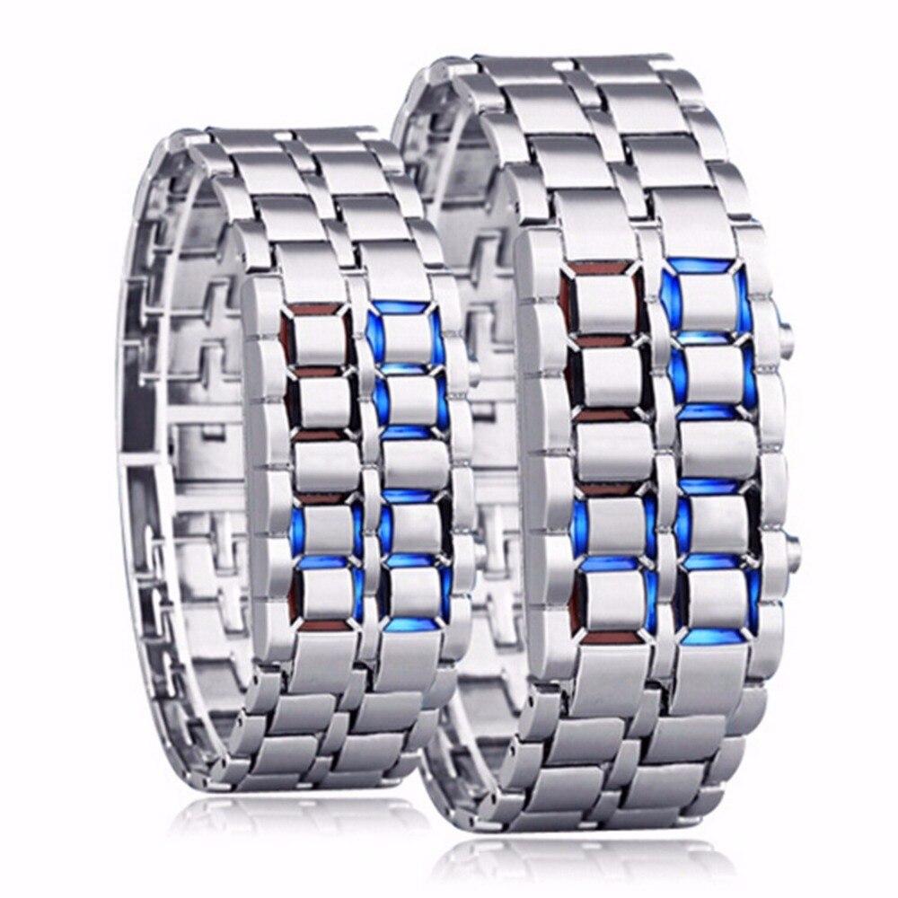 Lava Stil Eisen Samurai Schwarz Armband Led Japanischen Inspiriert Uhr Blau Technologie Schönheit Männer Frauen Paar Uhren Herrenuhren Uhren