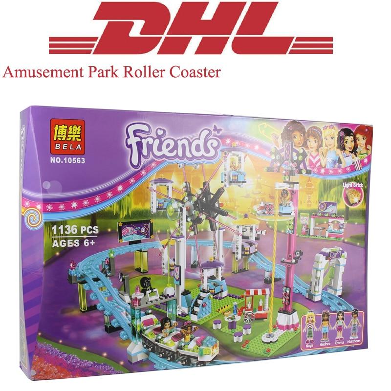 1136Pcs Set Friend Figures Amusement Park Roller Coaster Model Building Kit Blocks Bricks Girl Toy For Children Compatible 41130 bwl 01 tyrannosaurus dinosaur skeleton model excavation archaeology toy kit white