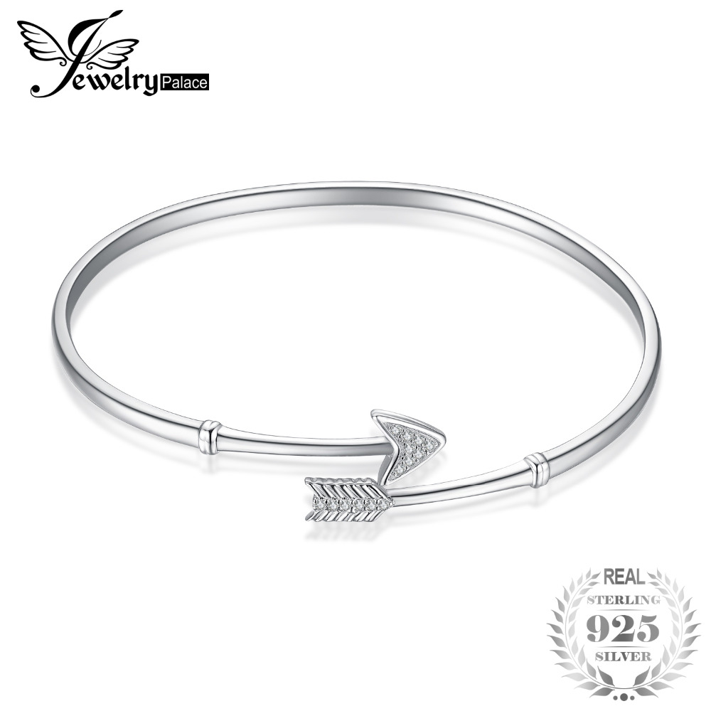 JewelryPalace 100 925 Sterling Silver Cupid's Arrow Cubic Zirconia Adjustable Cuff Bracelet Bangles For Women Gifts Fine Jewelry stylish arrow shape embellished silver cuff bracelet for women