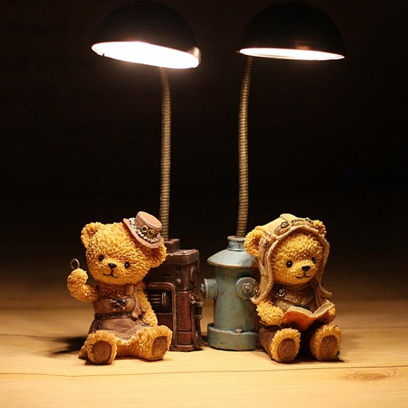 Resin Home Craft Bear Night Light Figurine Cartoon Animal Resin Decoration Gifts Desktop Ornament Night Light Crafts terrarium