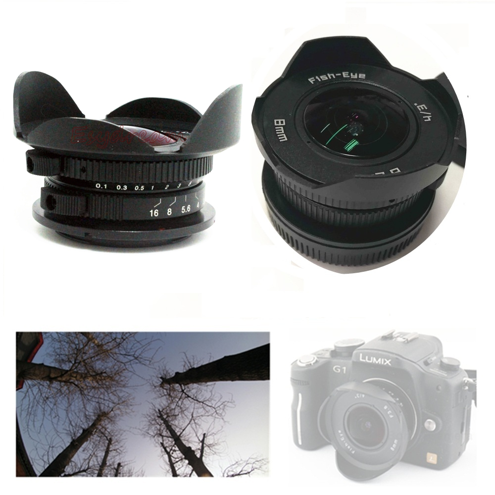 8mm F3.8 Manual Wide Angle Fisheye Fish Eye Lens For Olympus Panasonic M43 MFT GX7 GX8 OM-D E-M5 E-M1 E-M10 EM1 EM10 Mark II