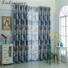 American Curtains For Living Dining Room Bedroom Simple Modern Geometric Green Gauze FabricChina