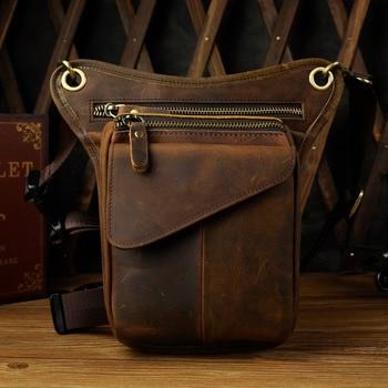 Echte Echtem Leder Männer Multifunktions Design Casual Sling Schulter Messenger Tasche Mode Taille Gürtel Pack Drop Bein Tasche 211 -3