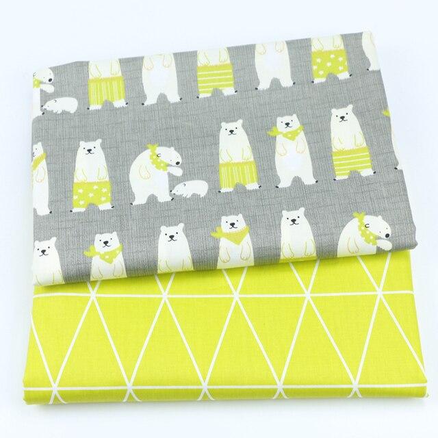 In hình Gấu cho bé 100% Cotton Quilting vải cho DIY may Miếng dán cường lực vải tấm vải