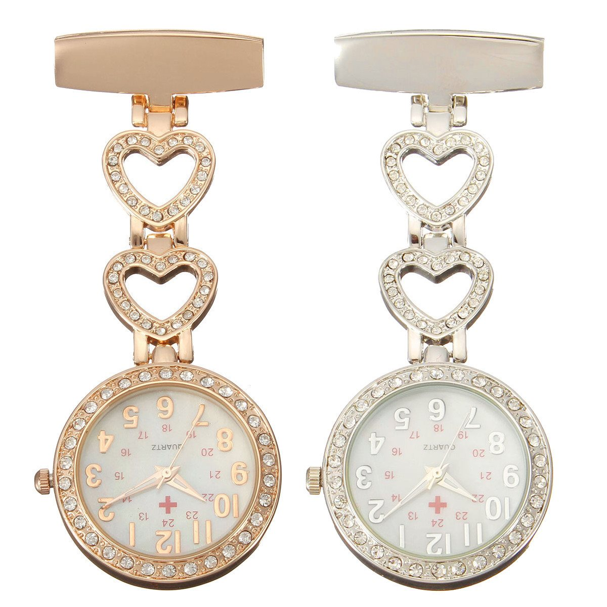 Clip-on Fob Quartz Brooch Heart Shaped Hanging Nurse Pin Watch Crystal Men Women Steel Fashion Vest-Pocket Nurse Watches Clock new luxury round dial clip on fob nurse pocket watch quartz brooch hanging fashion men women luminous pin watch steel relogio