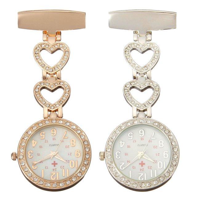 Clip-on Fob Quartz Brooch Heart Shaped Hanging Nurse Pin Watch Crystal Men Women