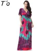 T O Ice Silk V Neck Bohemian Plus Size Dress 4xl 5xl 6xl Summer Print Tunic