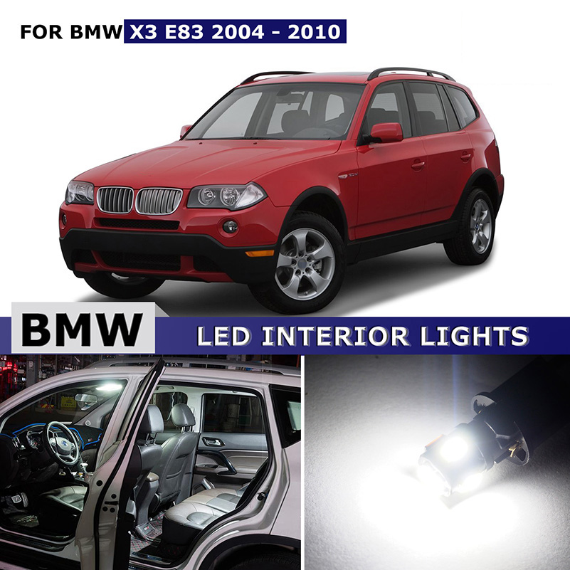 AUXITO 13x Pure White Canbus Car Dome Glove Map License Trunk Bonus Spare Light LED Interior light Kit for BMW X3 E83 2004 -2010 13pcs canbus car led light bulbs interior package kit for 2006 2010 jeep commander map dome trunk license plate lamp white