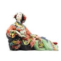Античная китайская фарфоровая статуэтка домашний декор Статуя Рисунок Керамика орнамент классические женские весенние ремесло