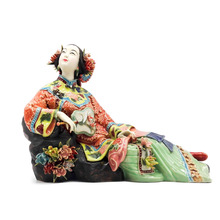 Antique Chinese Porcelain Figurine Home Decor Statue Figure Ceramic Ornament Classical Ladies Spring Craft Painted Art