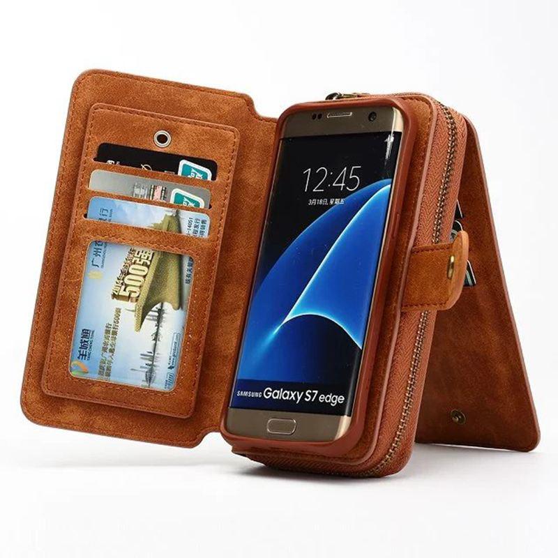 imágenes para Multifuncional Desmontable Cremallera Cartera de la Caja Para Samsung Galaxy S7/S7 S7Edge PU Bolsa Del Teléfono Cubierta de cuero Del Tirón Para la Galaxia borde