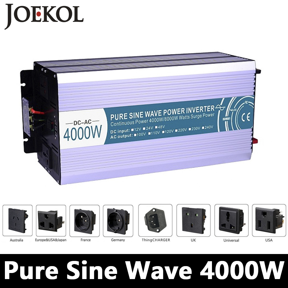 Grid Tie 4000W Pure Sine Wave Inverter,DC 12V/24V/48V To AC110V/220V,off Grid Solar Inverter,voltage Converter Work With Battery 1kw solar grid tie inverter 12v dc to ac 230v pure sine wave power pv converter