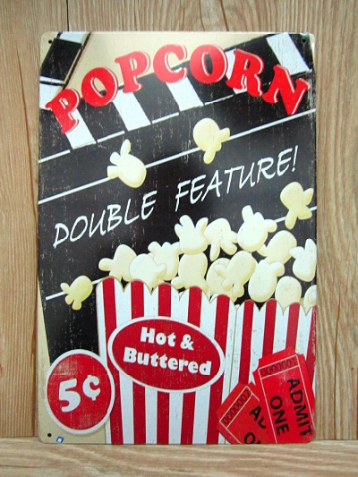2015 Metal signs Vintage plaques Tin art wall sticker Popcorn Retro decor home bar wall 20X30 CM Free shipping GY-00333 hot sale