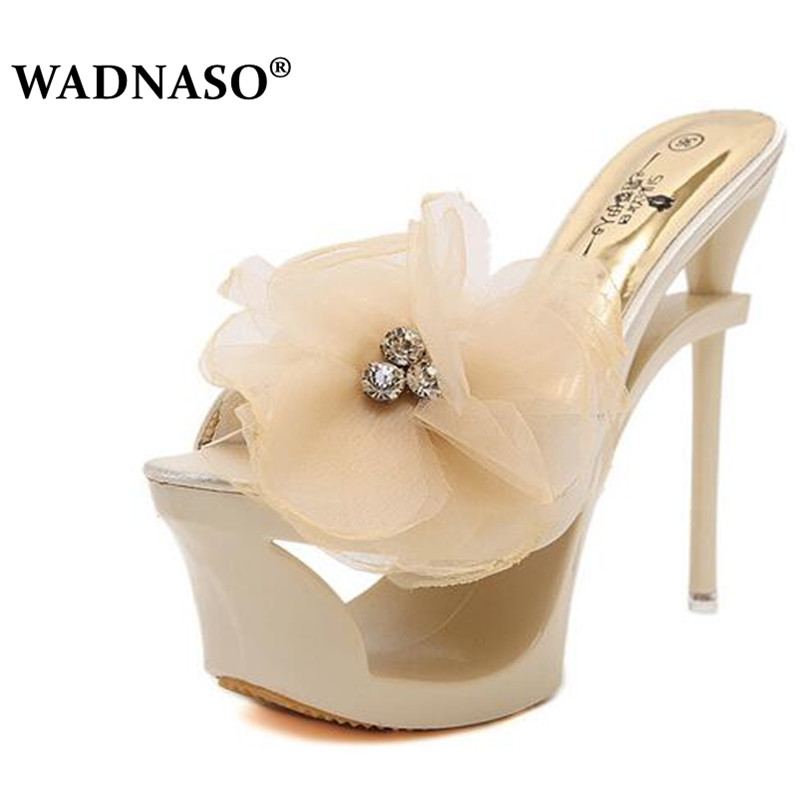 WADNASO Women 2019 Summer New Transparent Crystal Sexy  Shoes Super High Heel Platform Bowtie Wedges Fashion Slippers