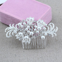 Flower Rhinestone Hair Slide Floral Head Piece Pearl Wedding Hair Comb Clip Crystal Bridal Hairpin Jewelry Hair Accessories(China)