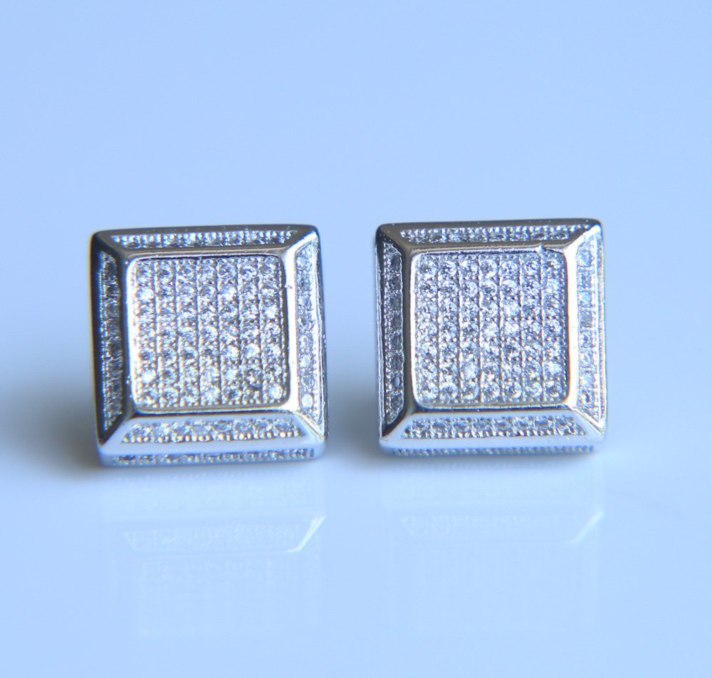 2017 new arrival high quality Gold filled micro pave cz mens screw back earring