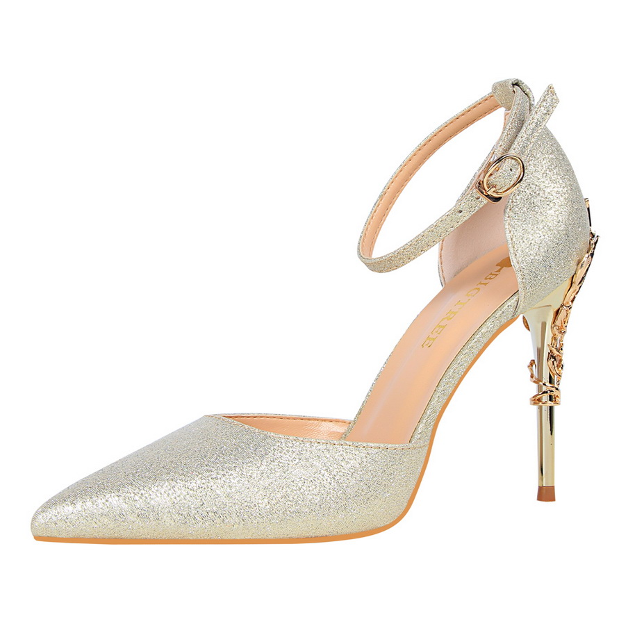 2019 Blue Luxury Metal New Women Pumps Ankle strap Wedding Party Thin silver High Heel Shoes Hollow Pointed Stiletto Elegant in Women 39 s Pumps from Shoes