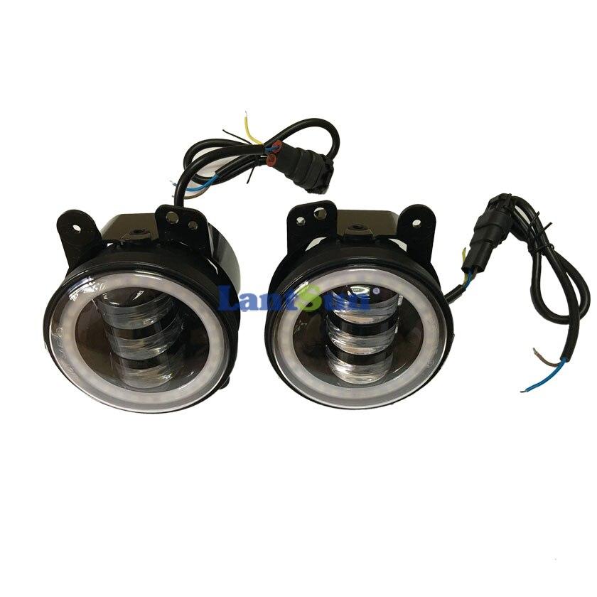 Par J023R 6500K 30w 4 inčni LED svjetla za maglu sa halo prstenom - Svjetla automobila - Foto 4
