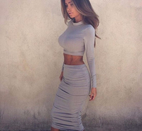 Kim Kardashian Dress 2 Pieces Bandage Elegant Two Piece Outfits Set Dresses Women Pencil Winter Long