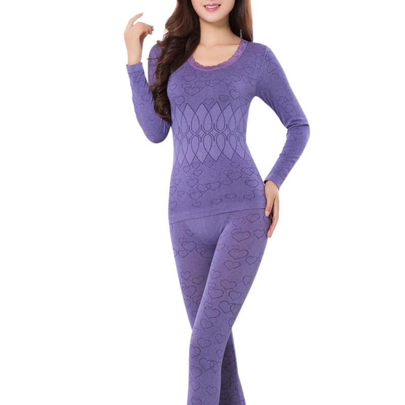 Women Long Sleeve Comfy Winter Warm Underwear Tops+Pants Long Johns