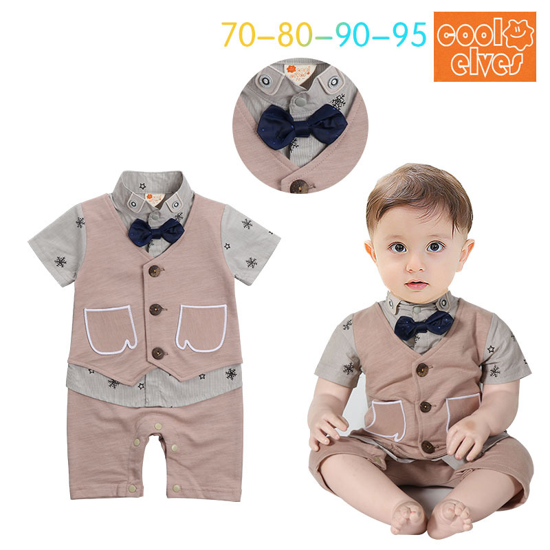 New baby boys printed short sleeve cotton rompers summer fashion gentleman jumpers infant bow overalls newborns clothes 17J701