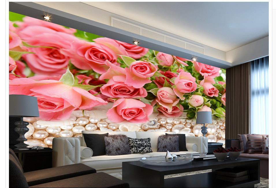 3d Disesuaikan Wallpaper Mutiara Bunga Mawar Klasik Dinding Foto Mural