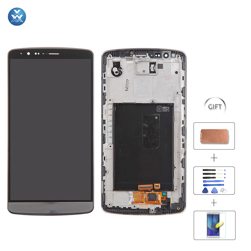 For LG G3 D850_D855_LS990 LCD Screen and Digitizer Assembly with Front Housing Replacement (No Small Parts) - Gray - LG Logo  (3)+TOOL