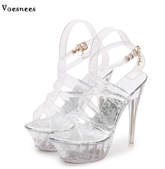 Shoes women sandals 14cm ultra high heels fine transparent glass catwalk shows nightclub wedding shoes Car Models Shoes europe and super high heels 14cm fashion shoes waterproof fish head sexy nightclub fine with plaid shoes