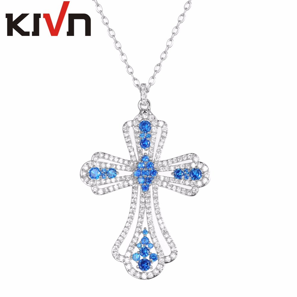 KIVN Fashion Jewelry Delicate Pave Royal Blue CZ Cubic Zirconia Women Girls Cross Pendants Necklaces Promotion Birthday gifts