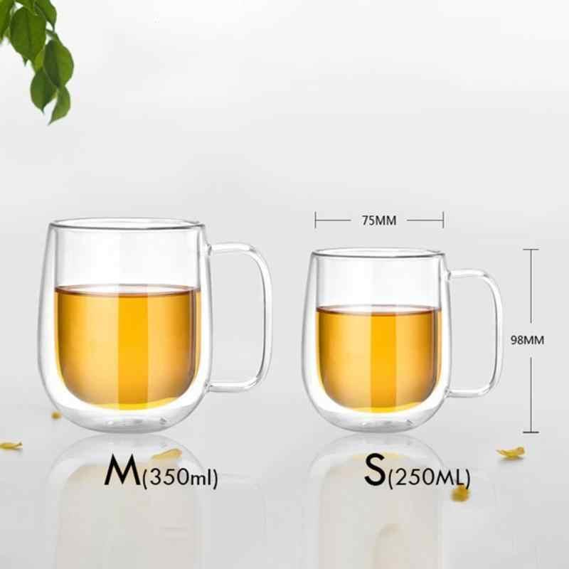 f24281b7d34 ... Double Wall Glass Cup Tea Coffee Cup Set with Handmade Heat-resistant  Creative Mug Insulated