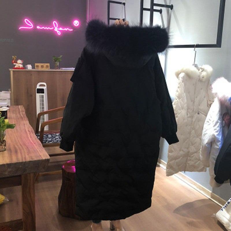 Avec Capuchon Bas Droite Outwear 2018 Long Vers Femmes À Épaisseur Manteau Le Chaud Veste Fourrure Solide Hiver Parka Mode Blanc Canard Black Zipper n7qvOO