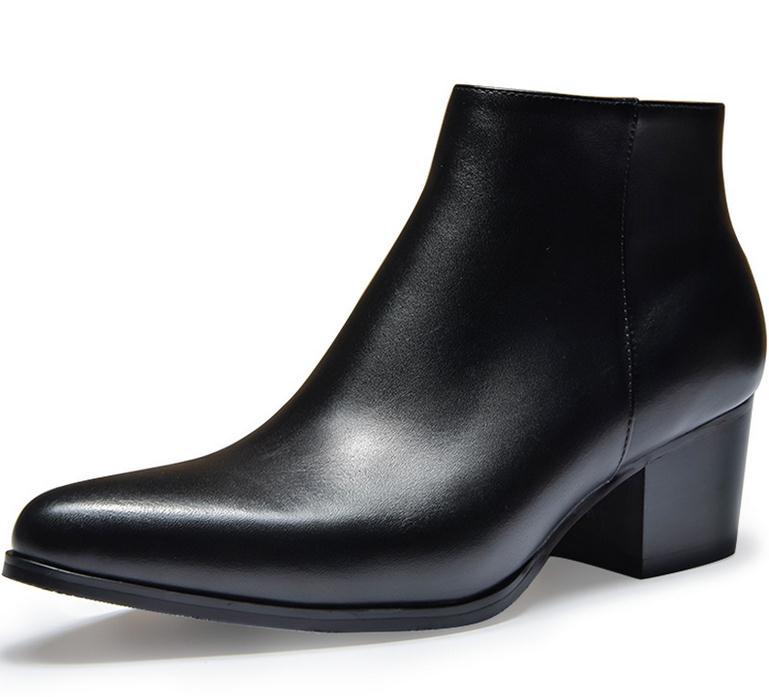가을 겨울 망 하이힐 가죽 부츠 지적 발가락 지퍼 플러시 따뜻한 발목 부츠 높이 증가 경력 남성 부츠 신발-에서작업 & 안전 부츠부터 신발 의  그룹 2