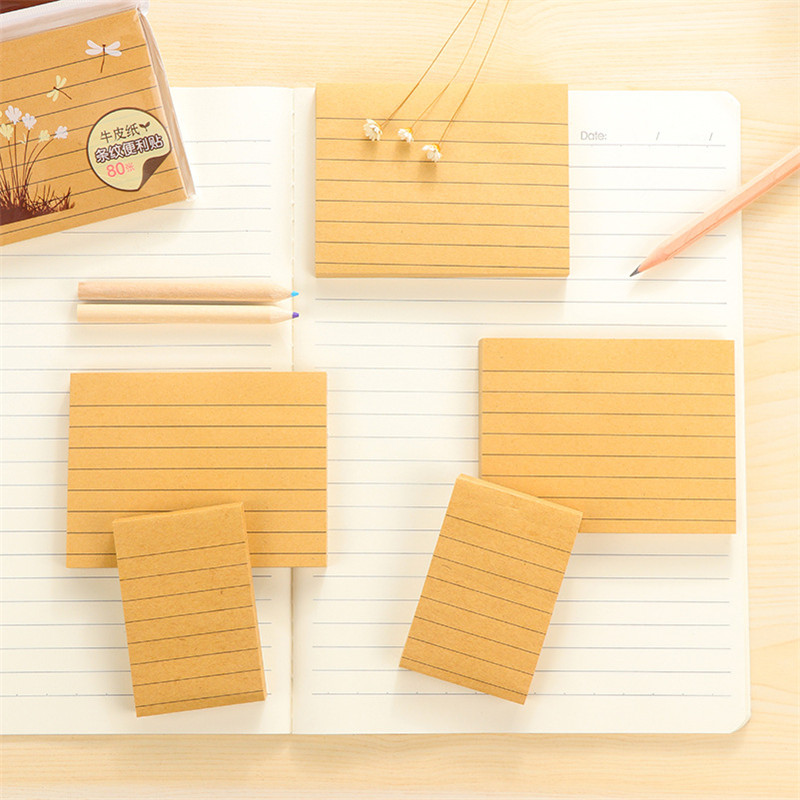 DL Love stationery simple kraft paper cross line sign book square message note N time sticker Stationery for office supplies stu