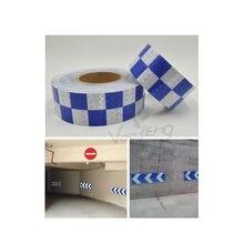 5 см x 10 м Сияющий синий белый цвет Квадратная самоклеящаяся