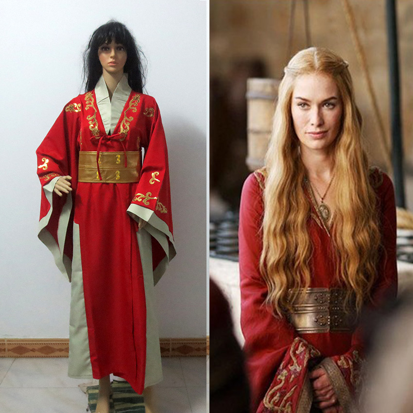 Costume Queen Cersei Lannister Red Luxury Dress Game Of Thrones Cosplay Costume Custom Made Free Shipping