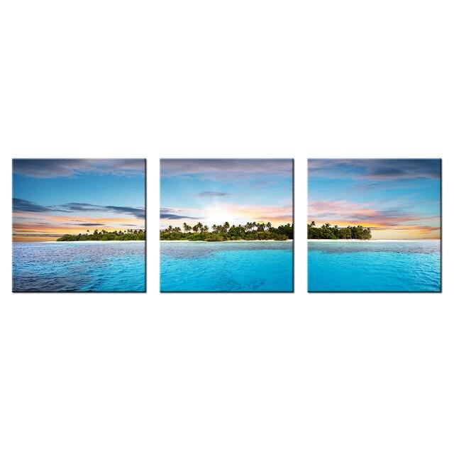 bdd11ac4a22ee 3 لوحات الحديثة المنظر اللوحة الشروق في البحر ديكور المنزل صورة مطبوعة قماش  جدار طباعة ملصق