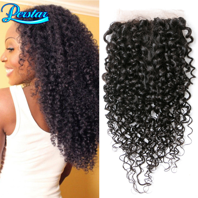 8a cheap brazilian kinky curly lace closure with baby hair