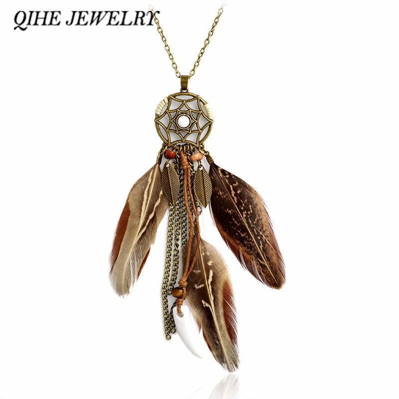 QIHE ювелирные изделия ожерелье коричневый натуральный цвет перо Ловец снов Колье Бохо Цыганский Чешский Хиппи ювелирные изделия