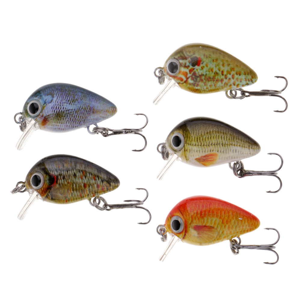 5pcs 1'' Mini Minnow Crank Baits Sinking Lures Minnow & Popper Diving Lure Baits for Bass Trout Freshwater/Saltwater