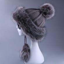 נשים Ushanka פו שועל פרווה פומפונים חורף Russain קוזאק חיצוני Earflap צמר סרוג שלג סקי כובע צמר מפציץ הצייד כובע