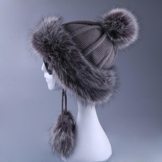 النساء Ushanka فو الثعلب كرة فرو الشتاء روسين القوزاق في الهواء الطلق إيرفلاب الصوف محبوك قبعة تزلج الثلوج الصوف مفجر قبعة الصياد